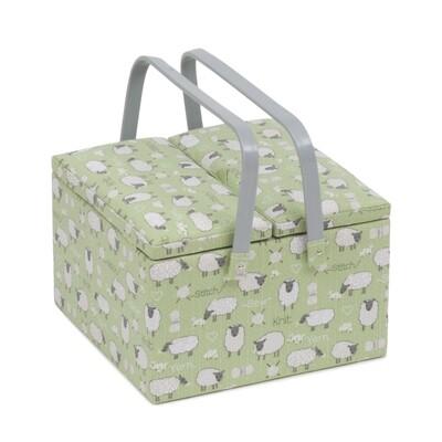 Sewing Box Twin Lid Large - Sheep