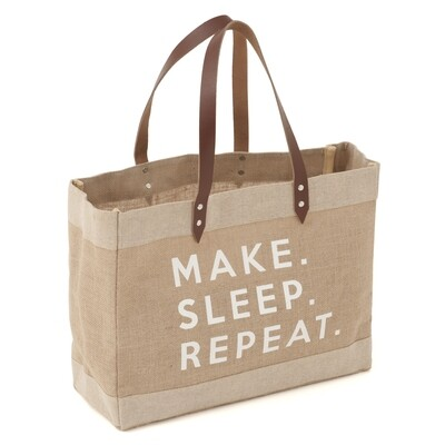 Craft Tote Bag Large - Printed Jute 'Make Sleep Repeat'