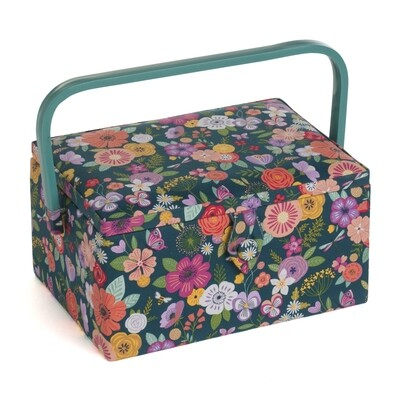 Sewing Box Medium - Floral Garden Teal