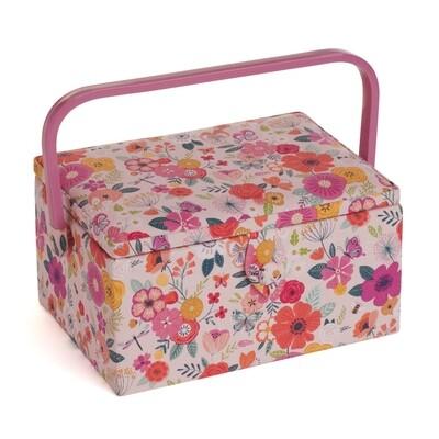 Sewing Box Medium - Floral Garden Pink