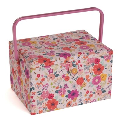 Sewing Box Large - Floral Garden Pink
