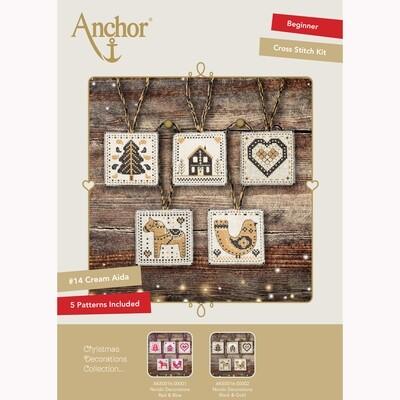 Kit de Ponto de Cruz Anchor Essentials - Etiquetas de Natal/Decorações Preto/Dourado