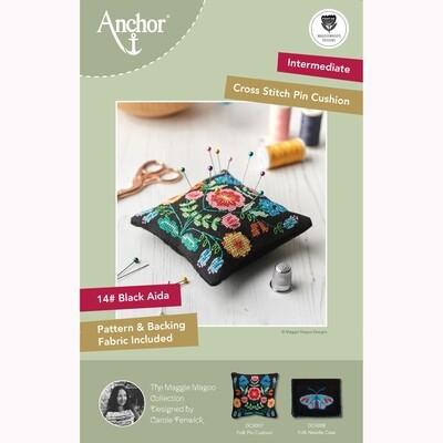 Kit de Ponto de Cruz Anchor Essentials - Almofada para Alfinetes Folk