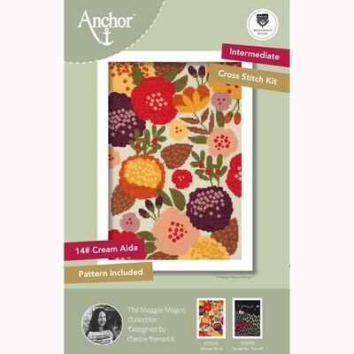 Kit de Ponto de Cruz Anchor Essentials - Floral Vibrante