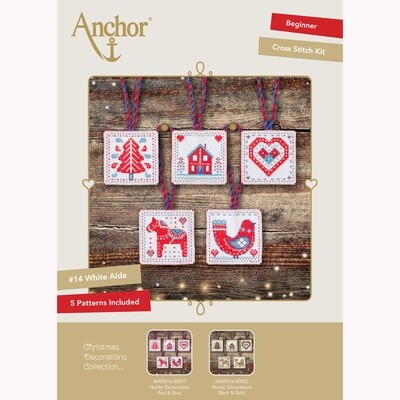 Kit de Ponto de Cruz Anchor Essentials - Etiqueta de Natal/Decorações Vermelho/Azul