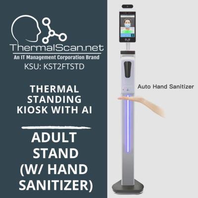 Adult Stand w/ Hand Sanitizer for Temperature Scanning Kiosk
