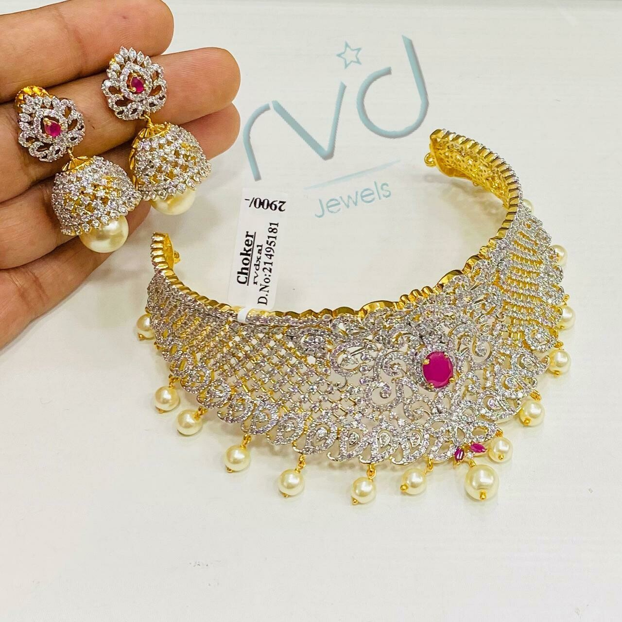 Cz Choker Necklace Set