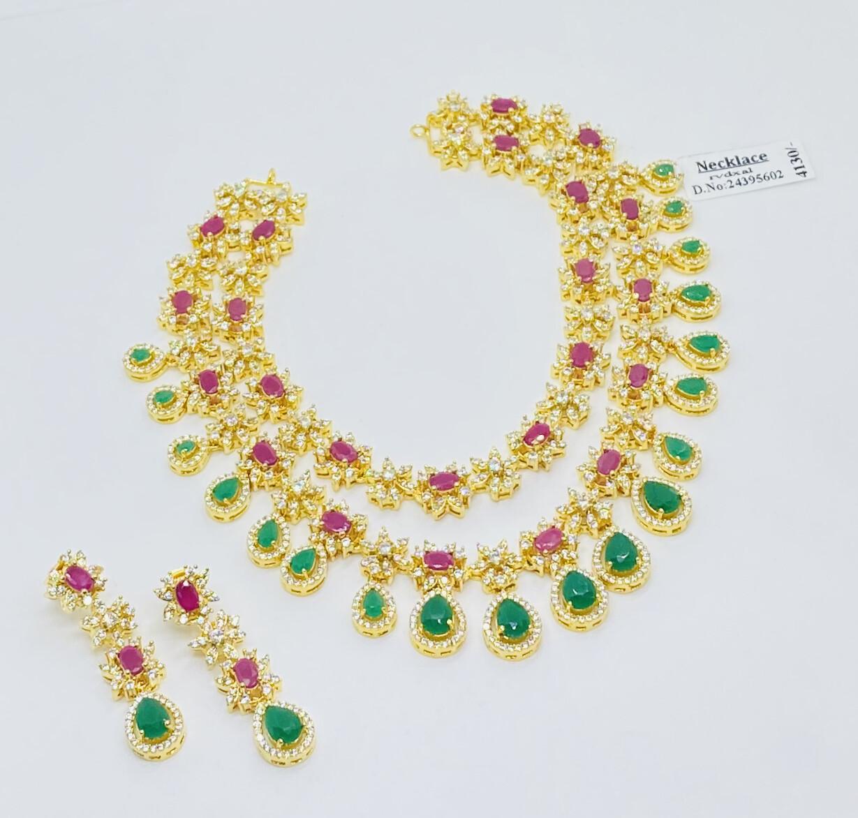 Cz Double Line Necklace Set