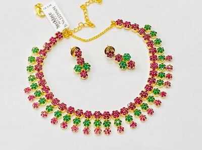 Cz Multi Color Necklace Set