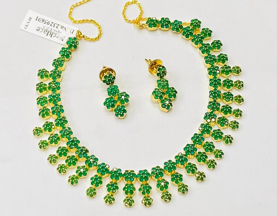 Cz Green Emarald Necklace Set