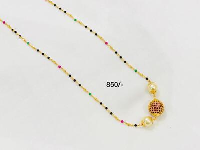 Cute Chain Ruby, Green N Black Beads