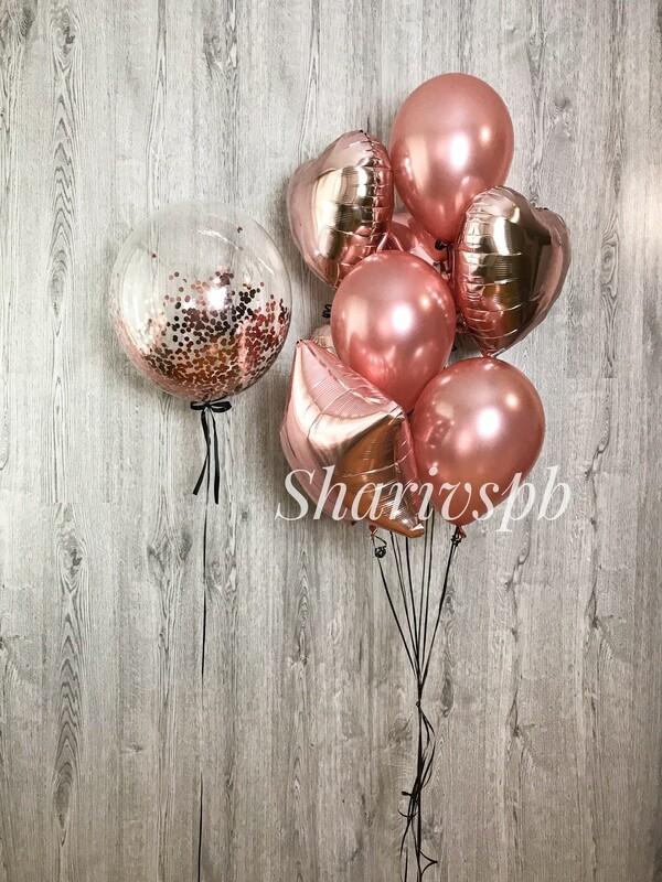 Набор шаров розовое золото с баблс
