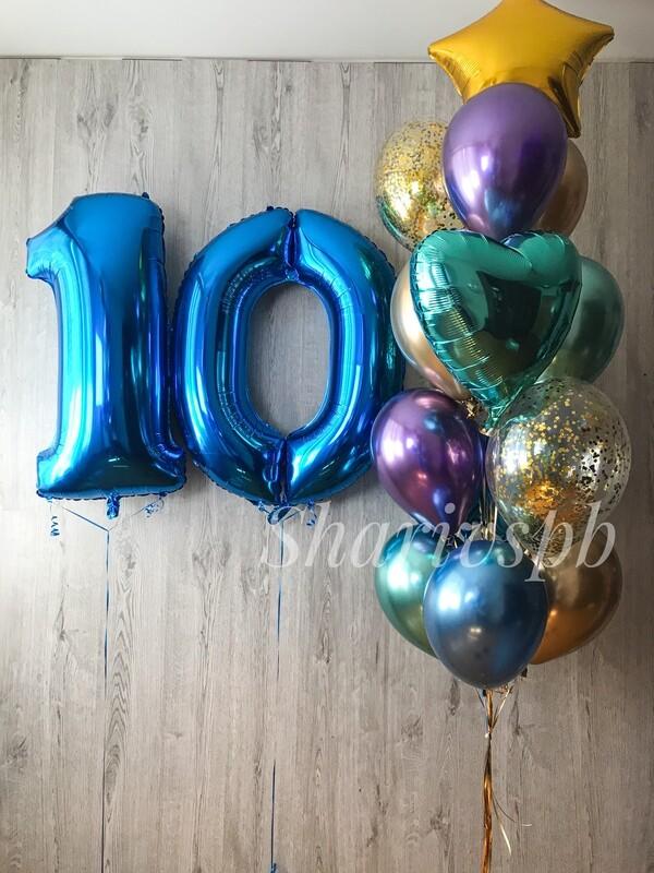 Набор шаров с цифрами 10