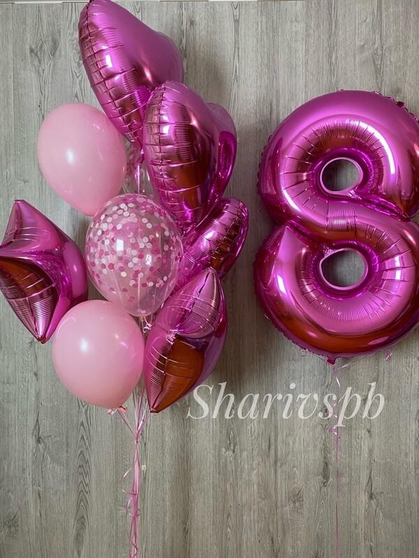 Набор с розовой цифрой