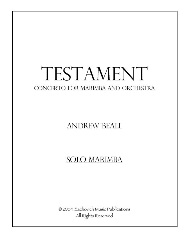 Andrew Beall: Testament: Concerto for marimba and orchestra (Study Score)