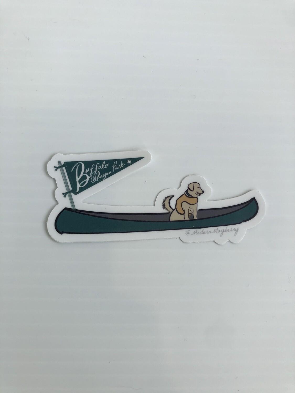 Dog in Canoe Buffalo Bayou Park Sticker