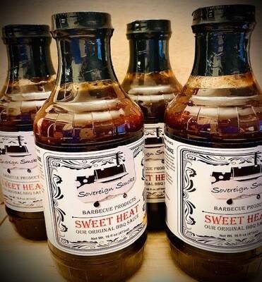 Four 16 oz. glass bottles of Sweet Heat, Our Original BBQ Sauce.