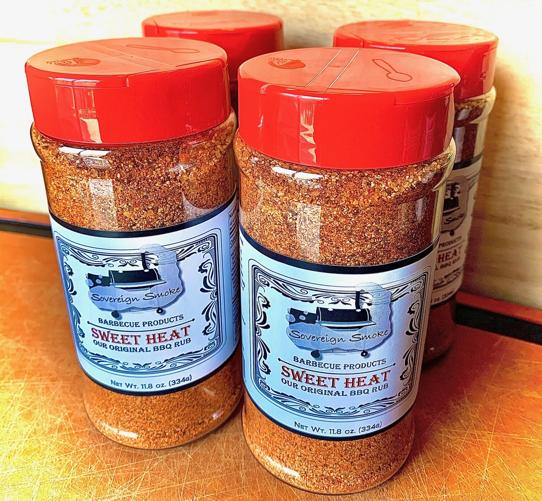 Four 11.8 oz. bottles of Sweet Heat, Our Original BBQ Rub.