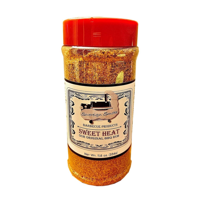 One 11.8 oz. bottle of Sweet Heat, Our Original BBQ Rub.