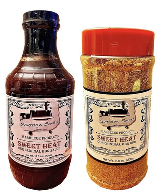 One 16 oz. bottle of Sweet Heat, Our Original BBQ Sauce and One 11.8 oz. bottle of Sweet Heat, Our Original BBQ Rub.