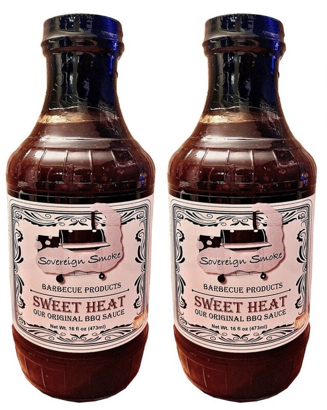 Two 16 ounce glass bottles of Sweet Heat, Our Original BBQ Sauce.