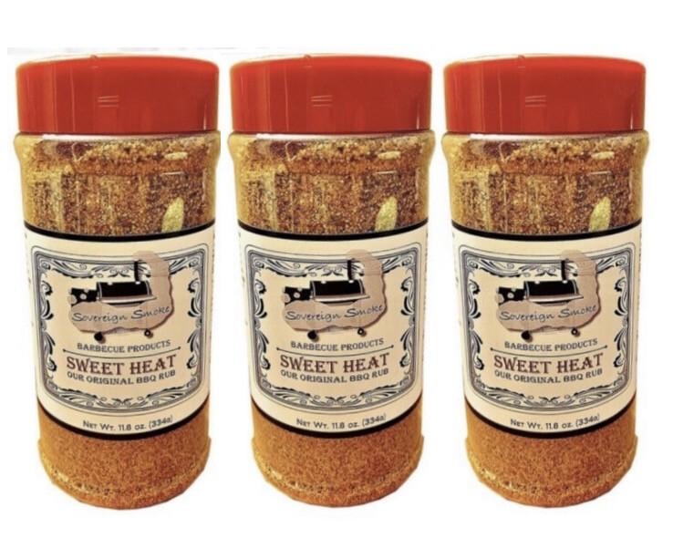 Three 11.8 oz. bottles of Sweet Heat, Our Original BBQ Rub.
