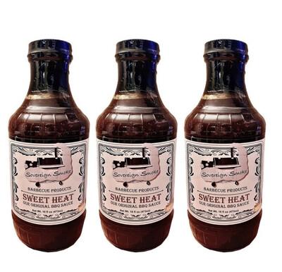Three 16 ounce glass bottles of Sweet Heat, Our Original BBQ Sauce.