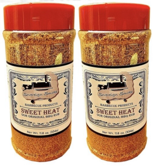 Two 11.8 oz. bottles of Sweet Heat, Our Original BBQ Rub.