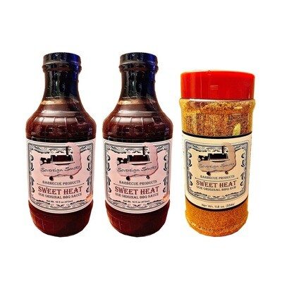 Two 16 oz. glass bottles of Sweet Heat, Our Original BBQ Sauce. & One 11.8 oz. bottle of Sweet Heat, Our Original BBQ Rub.