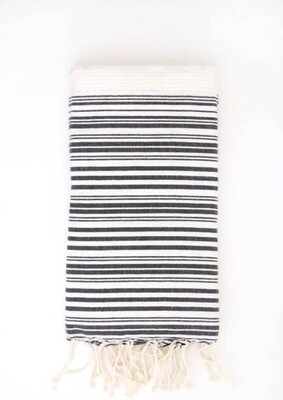 Fouta Honeycomb Towel Wht/Blk