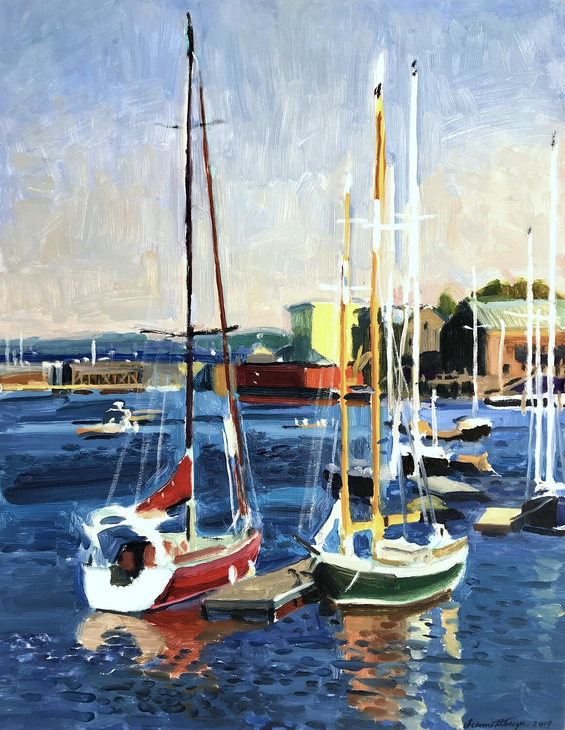 Belfast Sailboats  oil on panel 18