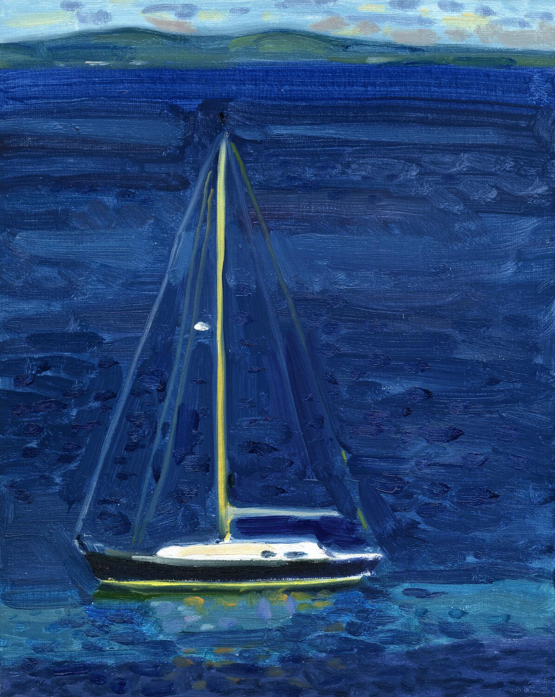 Single Sailboat  oil on linen  10