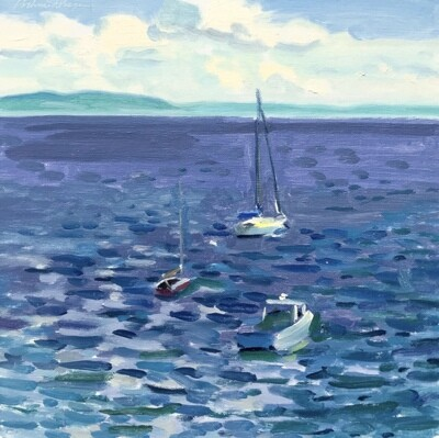 Bayside Sailboats   oil on linen  10
