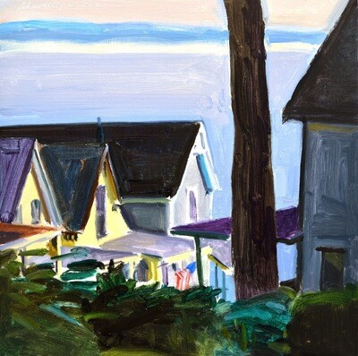 Early Morning Cottages  oil on panel  12