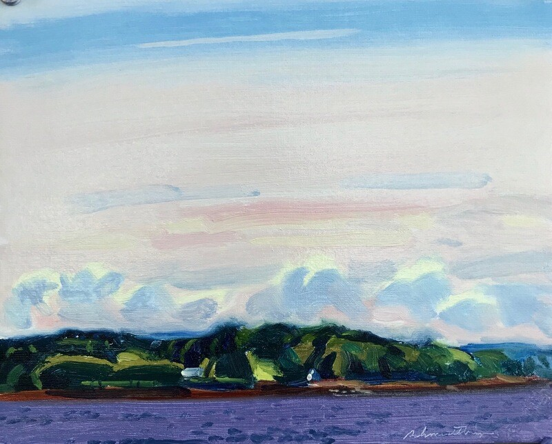 Penobscot Bay  oil on matboard 8