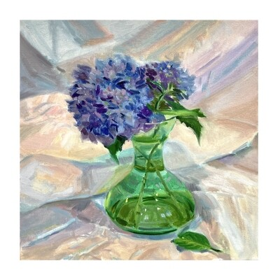 Hydrangea in an Antique Glass Vase    oil on canvas 16