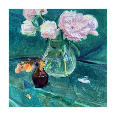 Peonies and Begonias   oil on canvas  16