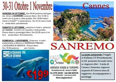 Sanremo, Acquario di Genova & Cannes  30-31 Ottobre 1 Novembre