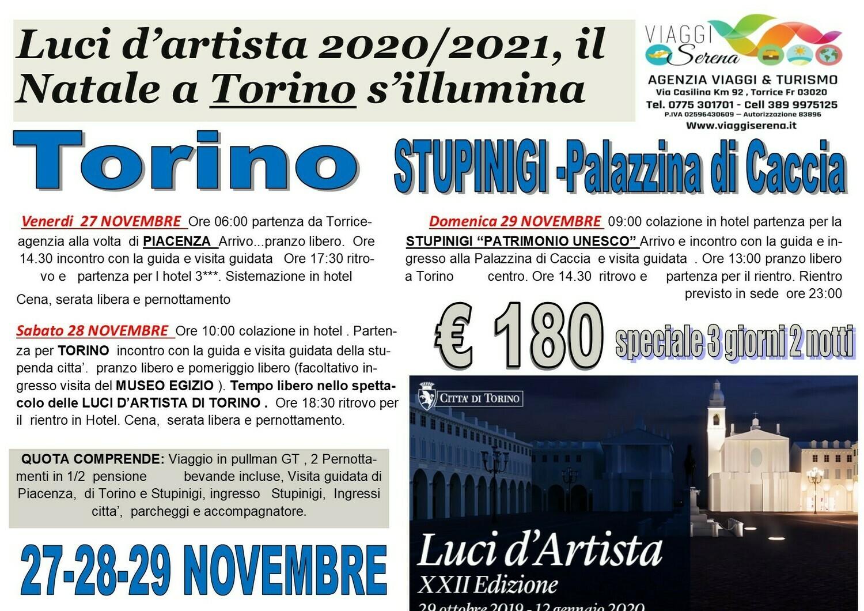 Luci d'artista TORINO , STUPINIGI & Palazzina di Caccia