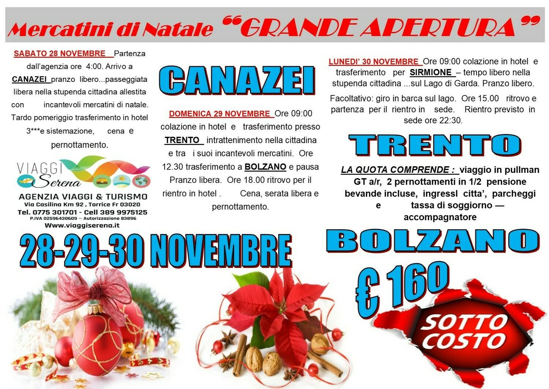 Mercatini di Natale: CANAZEI , BOLZANO & TRENTO 28-29-30 Novembre