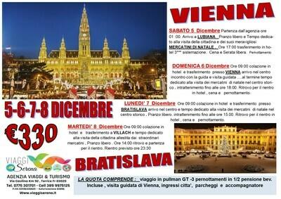 Mercatini di Natale: Vienna , Lubiana Bratislava & Villach 5-6-7-8 Dicembre