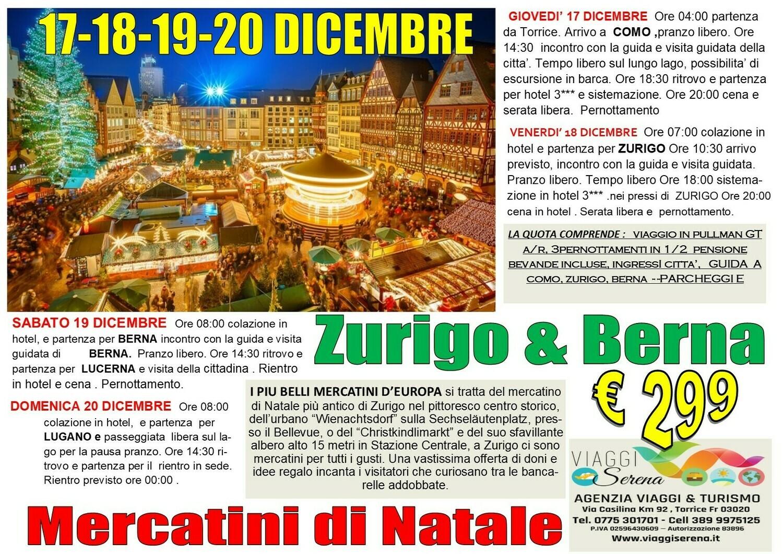 Mercatini di Natale: Zurigo, Berna , Lucerna & Como 17-18-19-20 Dicembre