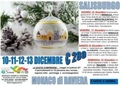 Mercatini di Natale: SALISBURGO, MONACO, INNSBRUCK  & BOLZANO 10-11-12-13 Dicembre