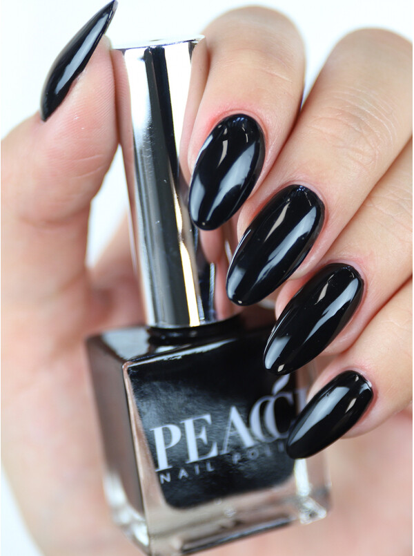 Peacci Nail Polish - Jet Black, 10ml