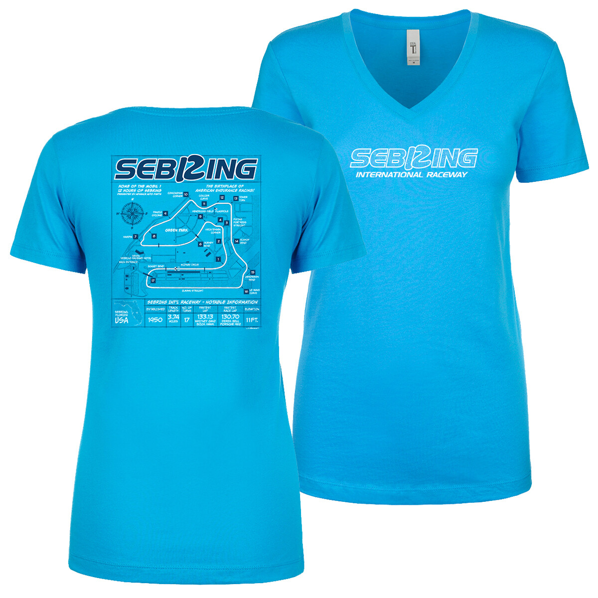 Sebring Ladies Blueprint V-neck - Turquoise