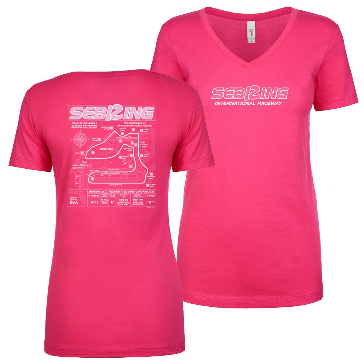 Sebring Ladies Blueprint V-neck Top - Dark Fucshia