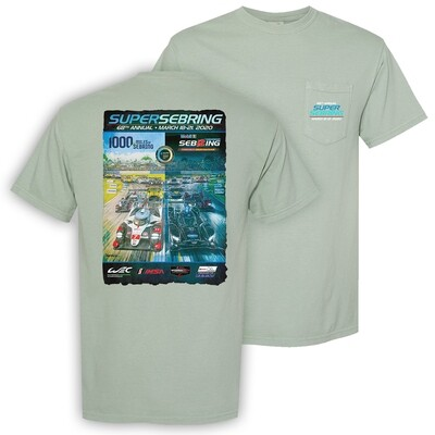 2020 Super Sebring 68th Poster Pocket Tee - Bay Green
