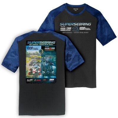 2020 SuperSebring 68th Poster Performance Tee - Black/Royal
