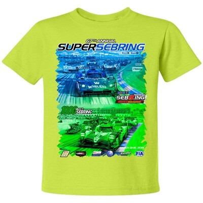 2019 SuperSebring Youth Sepia Tee - Neon  Yellow