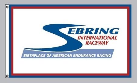 Sebring International Raceway Flag -White/Blue/Red